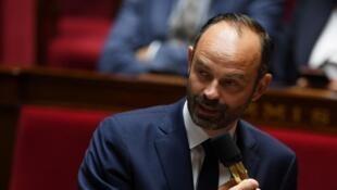 O primeiro-ministro francês Édouard Philippe durante um discurso na Assembleia Nacional