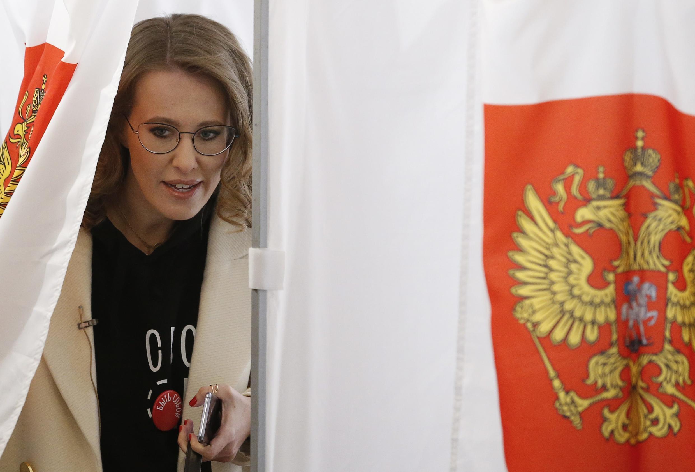 Кандидат в президенты Ксения Собчак, Москва, 18 марта 2018 года.