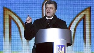 Petro Porochenko, le président ukrainien, lors de son discours en mémoire des morts de la révolution EuroMaïdan, à Kiev, le 20 février 2015.