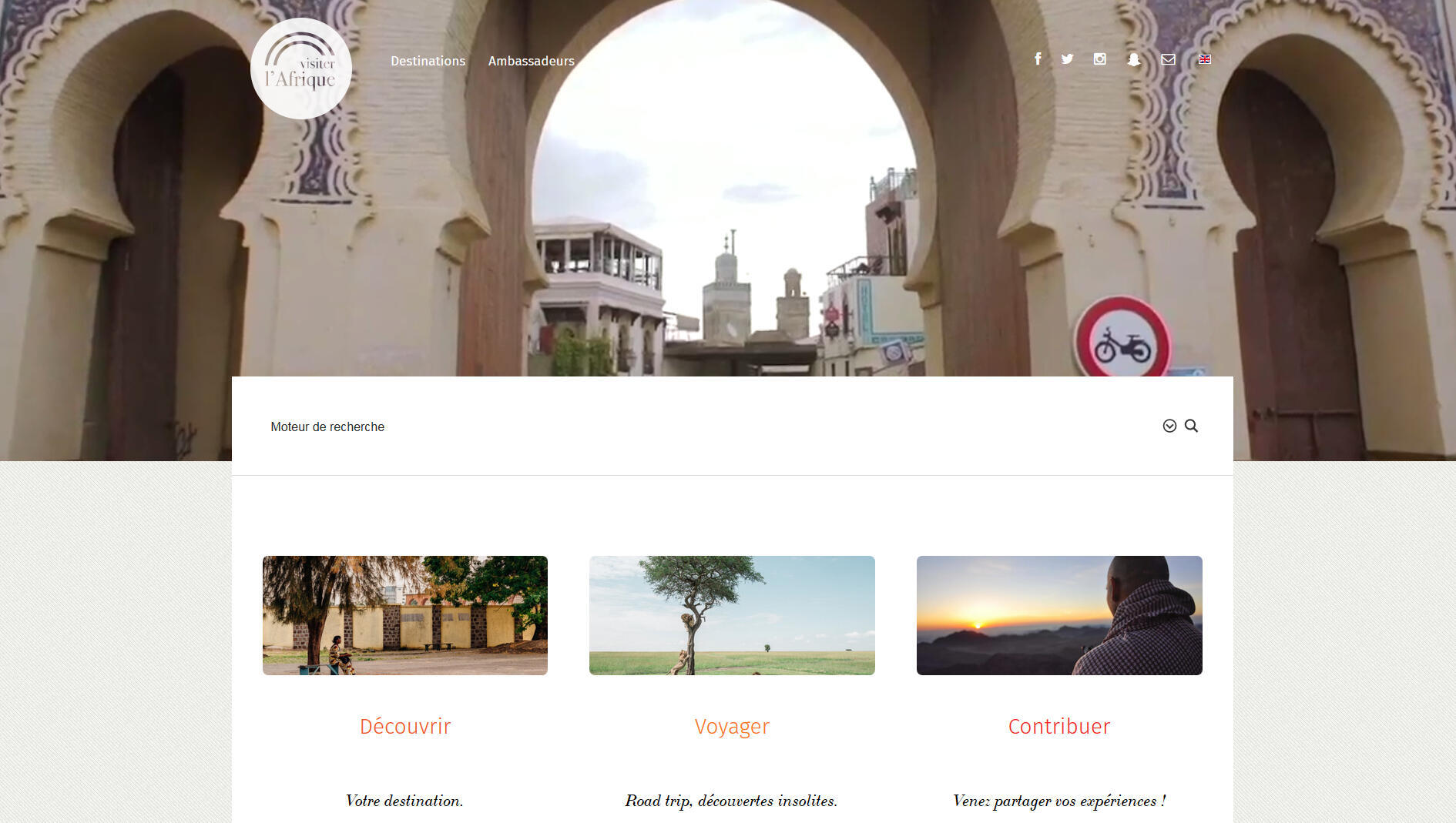Capture d'écran du site visiterlafrique.com