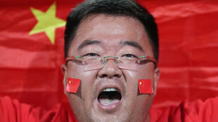 圖為中國球迷為中國國家隊與伊朗隊助威陣勢