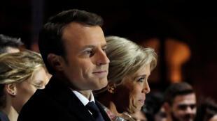 Emmanuel Macron devant ses partisans, au soir du 7 mai 2017.