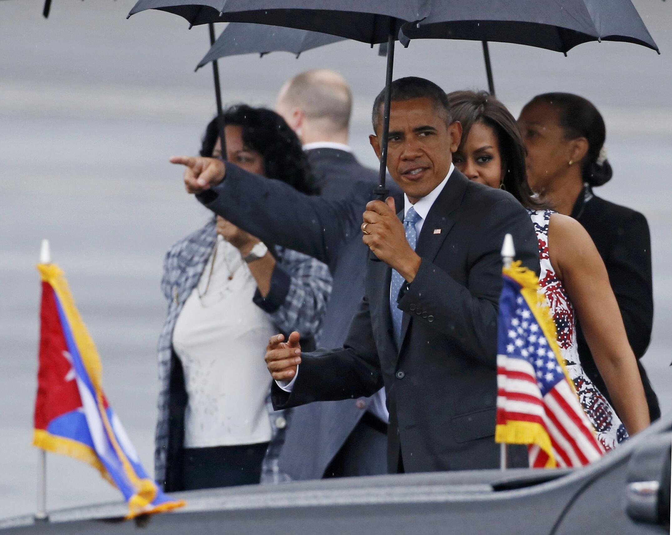 El presidente de EEUU Barack Obama al llegar a La Habana el 20 de marzo de 2016.