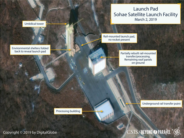 Photo satellite du site d'essais de fusées de Sohae à l'ouest de la Corée du nord, prise le 03 mars 2019.
