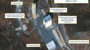 (Ảnh minh họa) - Cơ sở thử nghiệm tên lửa Sohae tại miền tây Bắc Triều Tiên. Ảnh chụp từ vệ tinh, ngày 03/03/2019.