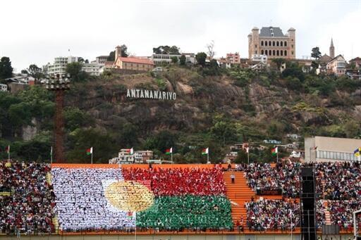 Vue du stade municipal le jour de la fête de l'indépendance le 26 juin 2010, à Antananarivo.