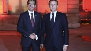 Le président malgache Andry Rajoelina et le président français Emmanuel Macron, le 9 octobre 2019 à Lyon (image d'illustration).