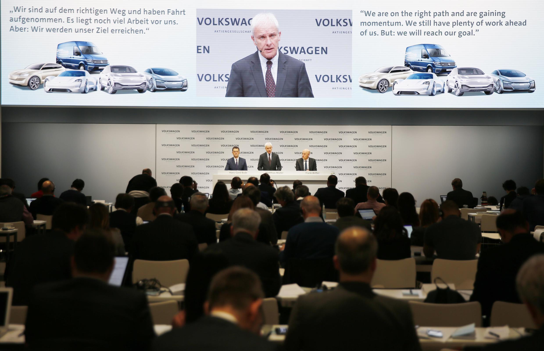 Volkswagen CEO Matthias Mueller speaks at the annual earnings news conference of VW in Berlin in Berlin, Germany, March 13, 2018.