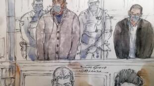 Un croquis d'audience réalisé le 5 octobre 2020 montre Sid Ahmed Ghlam, lors de son procès à Paris,