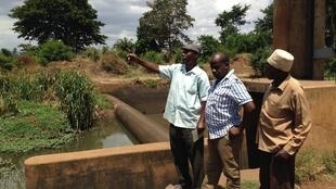 Tanzanian rice farmers Shabani Hassani Mziray, Bakari Shabani Mdimu, and Mbaraka Mohamed Mangi look at the low water level at th