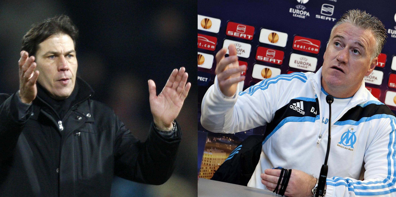Rudi Garcia, l'entraîneur de Lille, et Didier Deschamps, celui de l'OM.