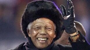 Nelson Mandela, lors de la cérémonie de clôture de la Coupe du monde de football en Afrique du Sud en 2010.