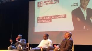 De Gauche à droite, Steve Kivwata, François Nzekuye et François Muamba à la Halle de Gombe à Kinshasa
