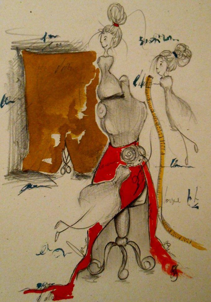 Dessin réalisé à partir d'Ecouter Paris à l'atelier des costumes de l'Opéra-Comique.