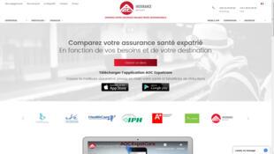 La page d'accueil du site de ce comparateur d'assurance santé dédié à la protection sociale des expatriés.