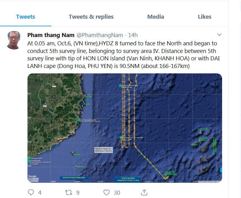 Ảnh chụp màn hinh tin nhắn từ tài khoản Twitter Pham thang Nam về hành trình dọc bờ biển miền Trung Việt Nam của tàu khảo sát Trung Quốc Hải Dương Địa Chất 8.