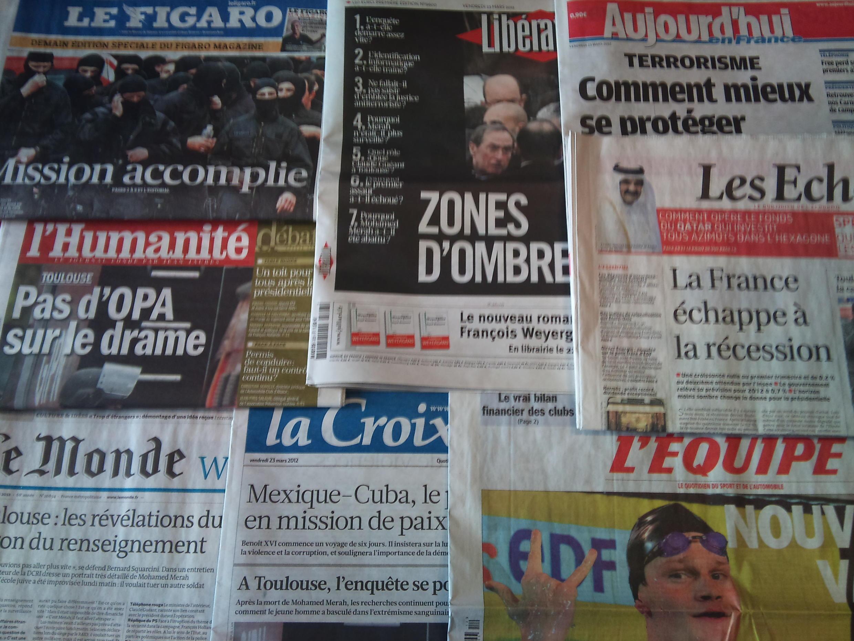 Diários franceses 23/03/2012
