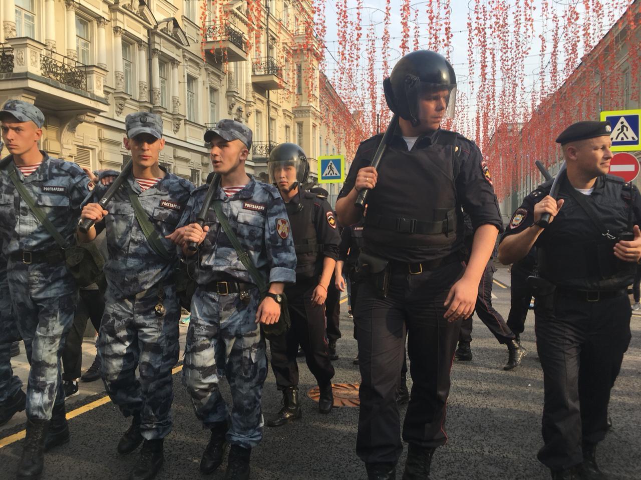 Полиция в центре Москвы на акции сторонников Навального 9 сентября 2018