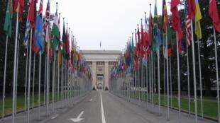 Entrée du bureau des Nations unies à Genève qui abrite aussi le comité contre la torture de l'ONU.