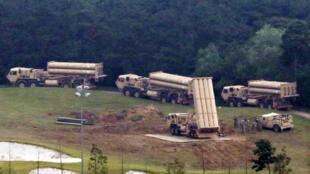 資料圖片:2017年9月7日部分美國薩德反導發射裝置抵達韓國星州部署。