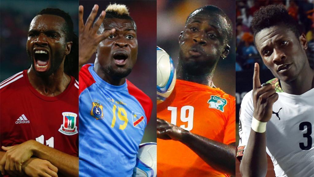 Mchezaji wa Equatorial Guinea, Javier Balboa, mchezaji wa DRC, Jeremy Bokila, mchezaji wa Cote d'Ivoire, Yaya Toure na mchezaji wa Ghana Asamoah Gyan (kuanzia kushoto kwenda kulia).