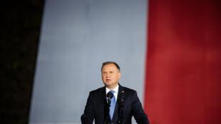 El presidente polaco, Andrzej Duda, habla durante un acto público el 1 de septiembre de 2020 en Gdansk, al norte de Polonia