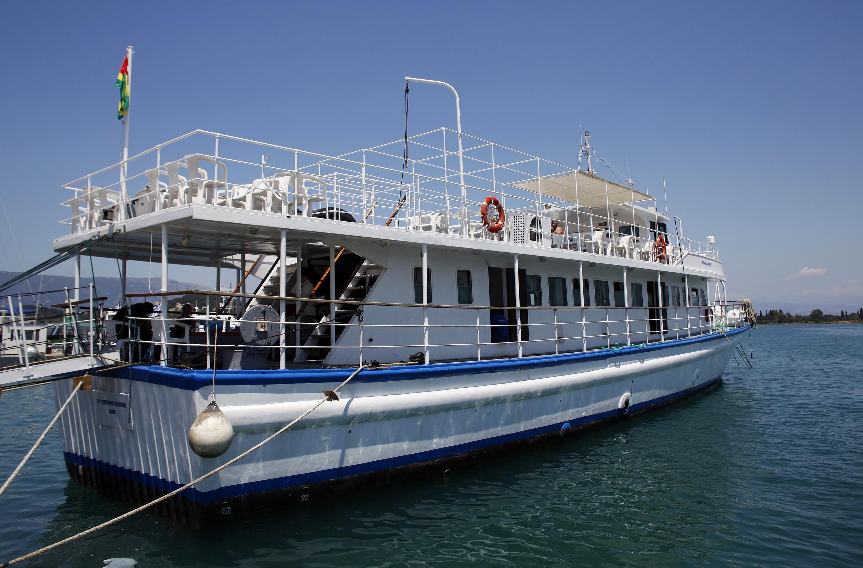 """Barco pertencendo à """"Flotilha da Liberdade"""" em direção a Faixa de Gaza."""