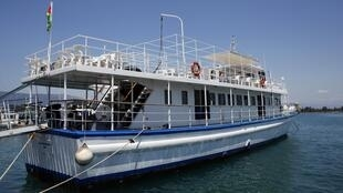 Une vue du bateau de Stefano Chiardini qui fait partie du collectif de la «Flottille pour la liberté 2», à Corfou, en Grèce qui devrait partir pour Gaza. Photo 30 juin 2011.
