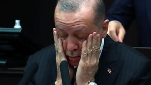 Turkish President Recep Tayyip Erdogan, seen speaking in April 2021, has provoked US outrage over comments described as 'anti-Semitic'