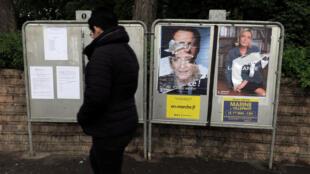 Áp phích các ứng viên tranh cử tổng thống Pháp 2017, tại Cambrai, France.