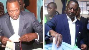 Presidente cessante Uhuru Kenyatta e líder da oposição Raila Odinga a votarem a 8 de Agosto