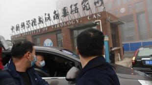 Miembros del equipo de la OMS que investiga el origen del covid-19 afuera del Instituto de Virología de Wuhan, China, el 3 de febrero de 2021
