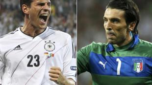 L'Allemand Mario Gomez (g.) et l'Italien Gianluigi Buffon.