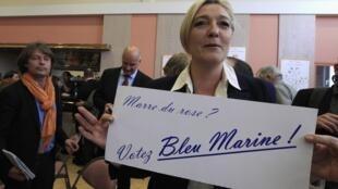 """На плакате в руках Марин Ле Пен призыв с игрой слов: """"Опротивел розовый ? Голосуйте за ультра-Марин!"""""""