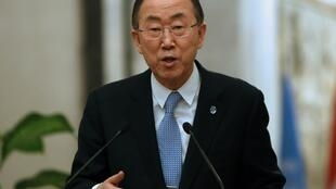 Le secrétaire général de l'ONU, Ban Ki-moon, à Bagdad le 13 janvier 2013.