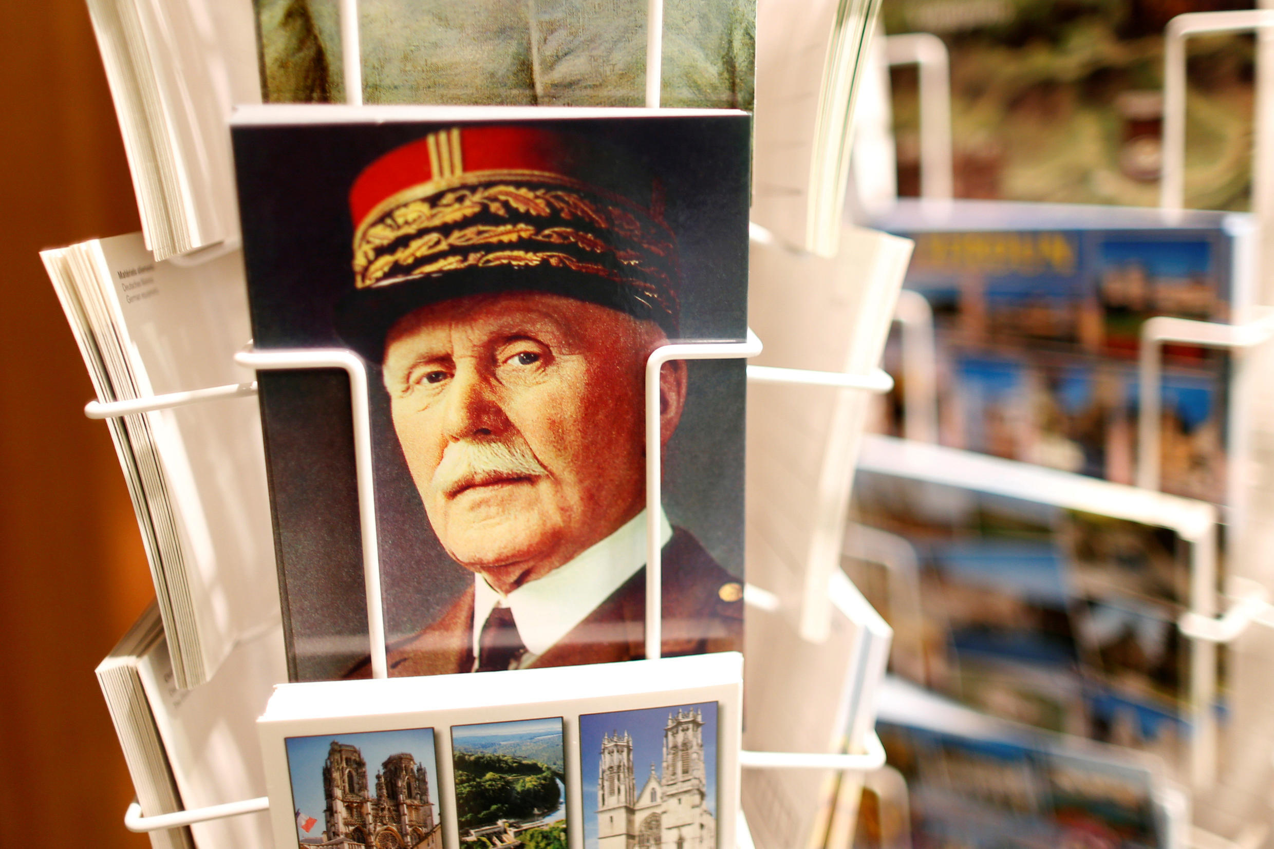 A postcard featuring French Marshal Philippe Pétain on sale at the souvenir shop of the Ossuary of Douaumont near Verdun