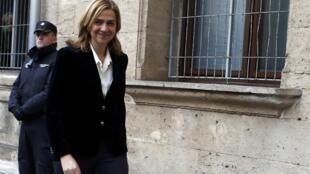 A infanta Cristina da Espanha chega nesta manhã ao tribunal em Palma de Mallorca