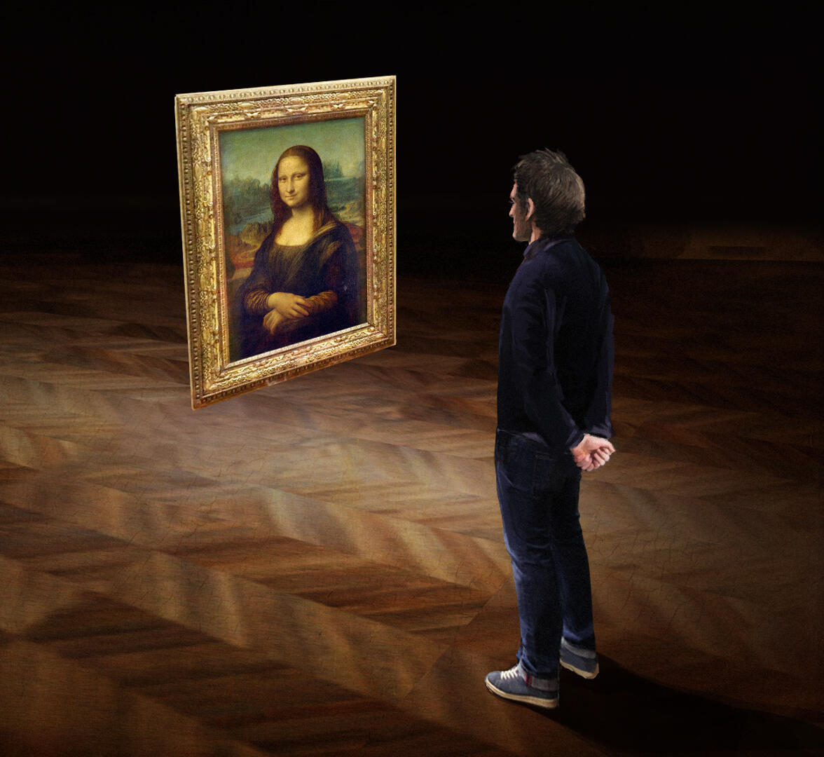 Participants in the VR experience of the Mona Lisa get an up-close and in-depth look at the history and techniques involved in the Louvre's most famous painting.