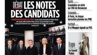 O primeiro debate dos principais candidatos à eleição francesa foi destaque na imprensa francesa nesta terça-feira (21).