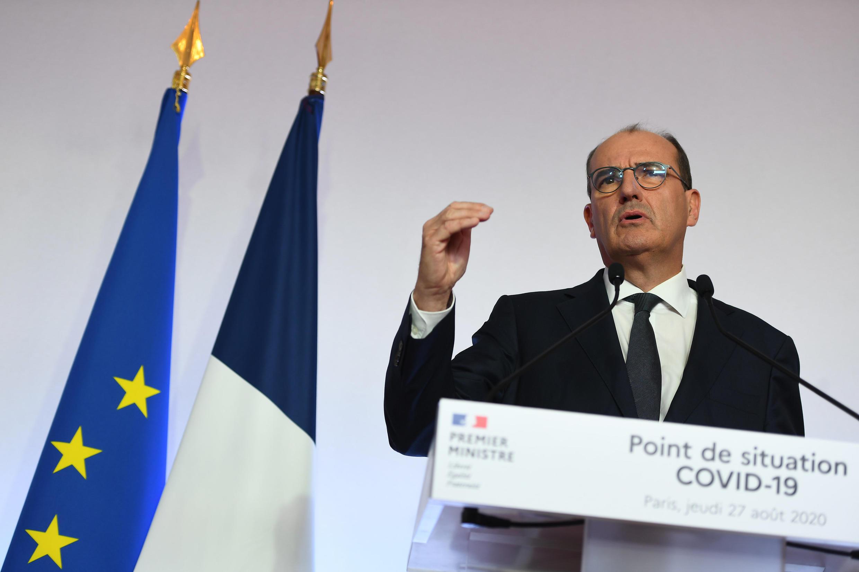 O primeiro-ministro francês Jean Castex na coletiva de imprensa em Paris, em 27 de agosto de 2020.