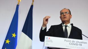 Le Premier ministre français Jean Castex lors d'une conférence de presse à Paris, le 27 août 2020.