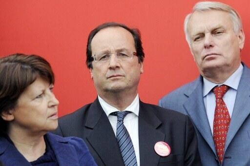 Martine Aubry, François Hollande et Jean-Marc Ayrault, le 12 mai 2009.