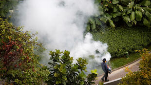 Funcionário de um condomínio tenta erradicar o mosquito transmissor do vírus zika em Cingapura.