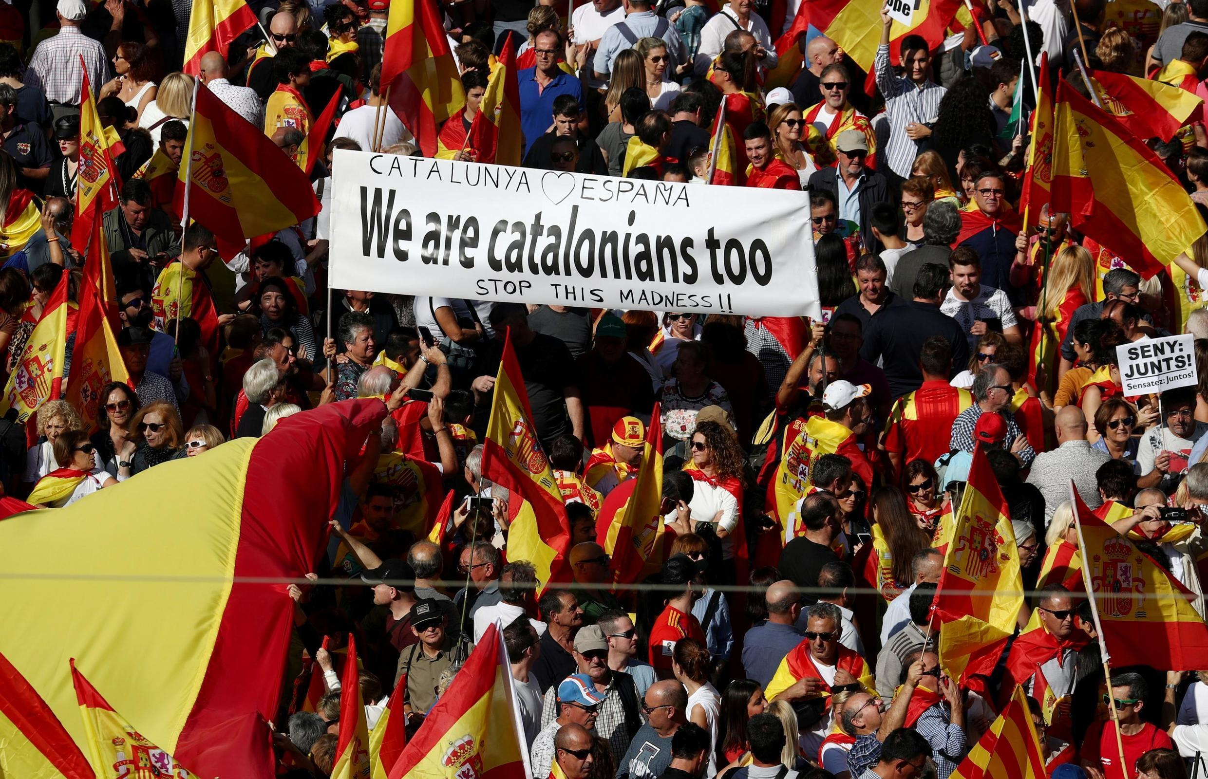 Supporters of Spanish unity demonstrate their wish for co-existence in Catalonia and an end to separatism, in Barcelona, Spain, 27 October 2019.
