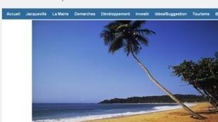 Capture d'écran du site internet de la mairie de Jacqueville, en Côte d'Ivoire.