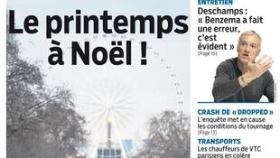 "Capa do jornal Le Parisien desta sexta-feira com o título ""Primavera no Natal!'"