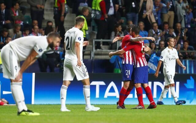 Celebración tras uno de los goles del Atlético de Madrid