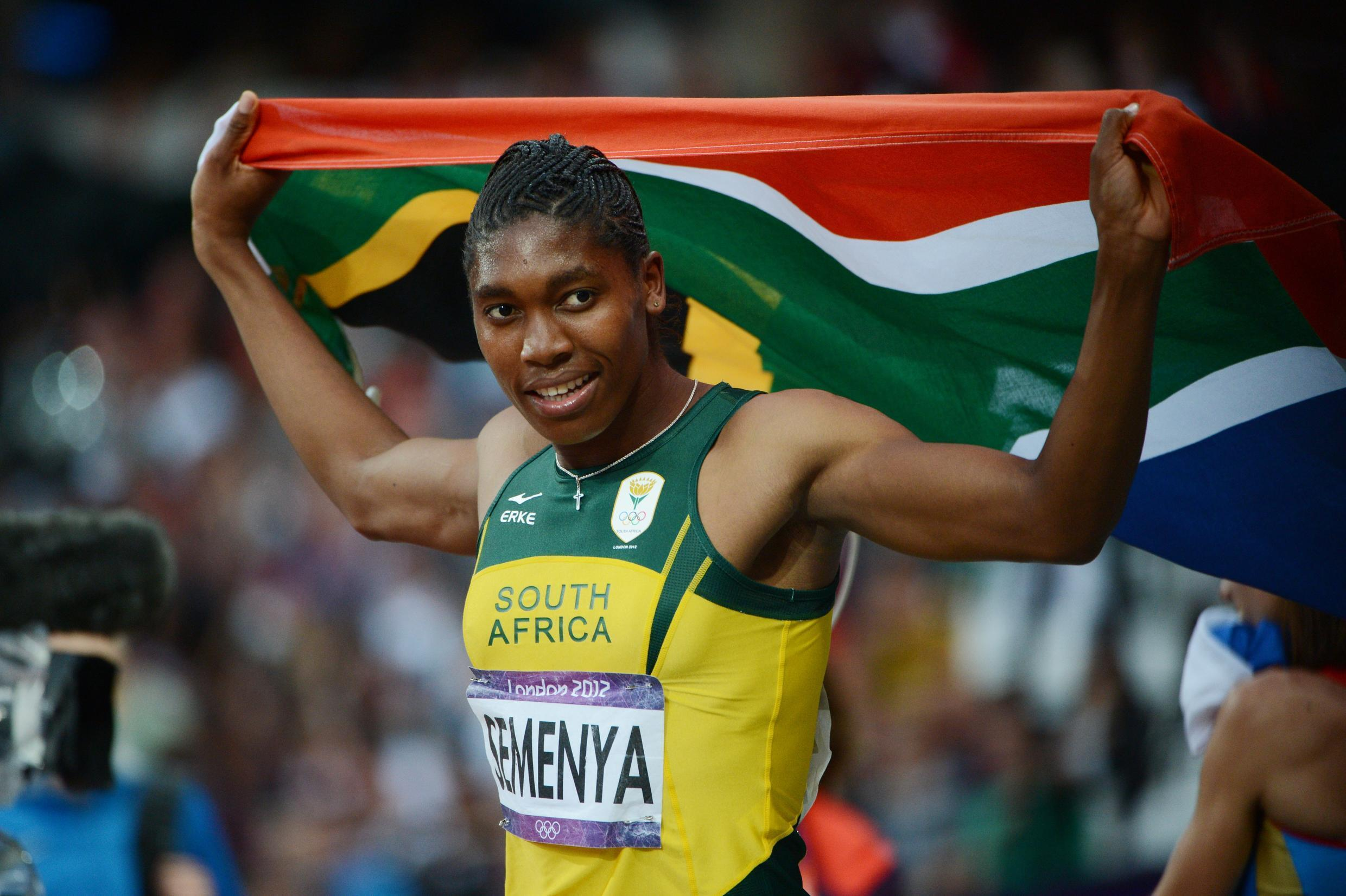 South Africa's Caster Semenya celebrates after the women's 800m final at the athletics event of the London 2012 Olympic Games on 11 August 2012.