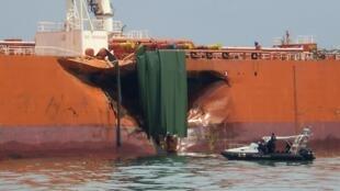Tàu chở dầu Kelana MT Bunga 3 của Malaysia sau tai nạn.