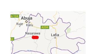 Carte de l'Etat de Nasarawa au Nigeria.